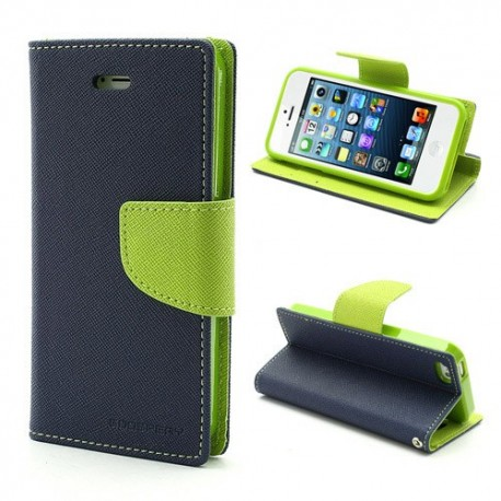 Apple iPhone 5 / 5S - etui na telefon i dokumenty - Fancy niebieskie