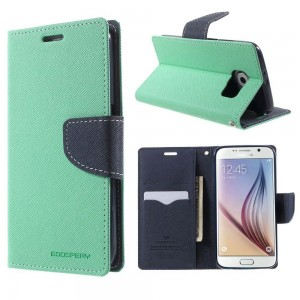 Samsung Galaxy S6 - etui na telefon i dokumenty - Fancy cyjan