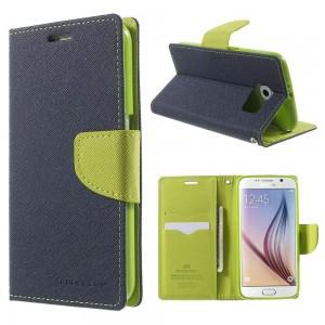 Samsung Galaxy S6 - etui na telefon i dokumenty - Fancy niebieskie (KR)
