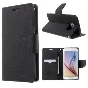 Samsung Galaxy S6 - etui na telefon i dokumenty - Fancy czarne (KR)