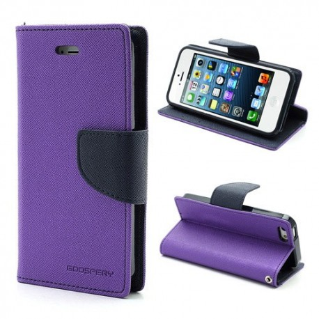 Apple iPhone 5 / 5S - etui na telefon i dokumenty - Fancy purpurowe