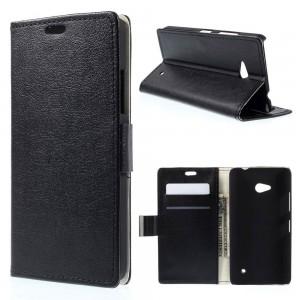 Microsoft Lumia 640 LTE - etui na telefon i dokumenty - Lychee czarne
