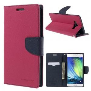 Samsung Galaxy A7 - etui na telefon i dokumenty - Fancy różowe