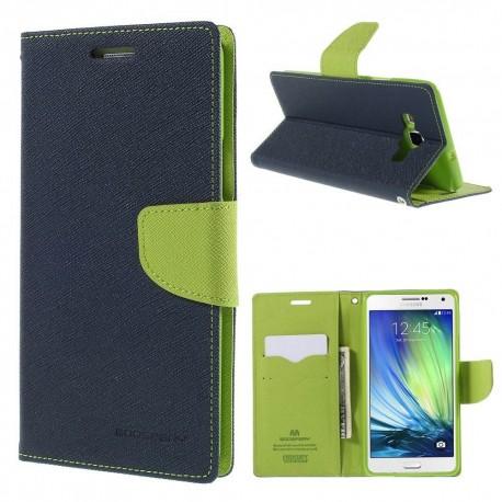 Samsung Galaxy A7 - etui na telefon i dokumenty - Fancy niebieskie