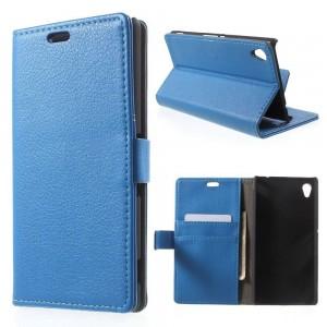 Sony Xperia M4 Aqua - etui na telefon i dokumenty - Litchi niebieskie