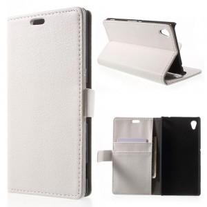 Sony Xperia M4 Aqua - etui na telefon i dokumenty - Litchi białe