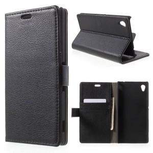 Sony Xperia M4 Aqua - etui na telefon i dokumenty - Litchi czarne