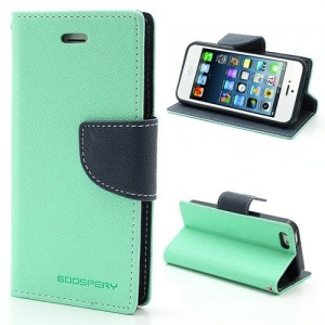 Apple iPhone 5 / 5S - etui na telefon i dokumenty - Fancy cyjan