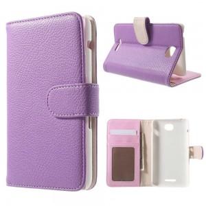 Sony Xperia E4 - etui na telefon i dokumenty - Litchi purpurowe