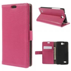 Huawei Honor Holly - etui na telefon i dokumenty - Litchi różowe