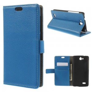 Huawei Honor Holly - etui na telefon i dokumenty - Litchi niebieskie