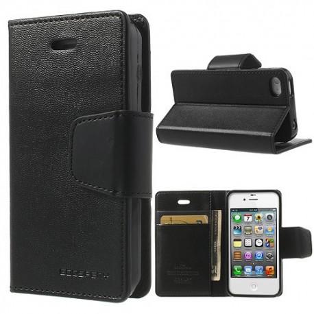 Apple iPhone 4 / 4S - etui na telefon i dokumenty - Sonata czarne