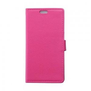 Sony Xperia E4g - etui na telefon i dokumenty - Litchi różowe