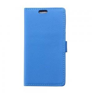 Sony Xperia E4g - etui na telefon i dokumenty - Litchi niebieskie