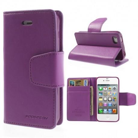 Apple iPhone 4 / 4S - etui na telefon i dokumenty - Sonata purpurowe