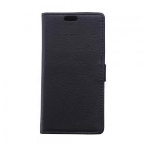 Sony Xperia E4g - etui na telefon i dokumenty - Litchi czarne