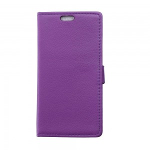 Sony Xperia E4g - etui na telefon i dokumenty - Litchi purpurowe