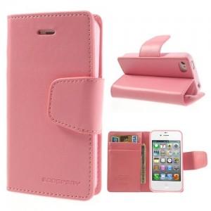 Apple iPhone 4 / 4S - etui na telefon i dokumenty - Sonata różowe