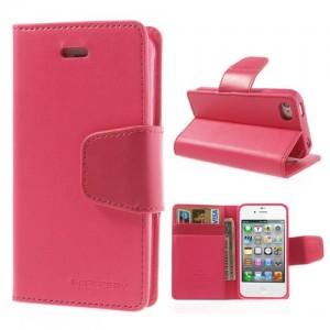 Apple iPhone 4 / 4S - etui na telefon i dokumenty - Sonata ciemnoróżowe