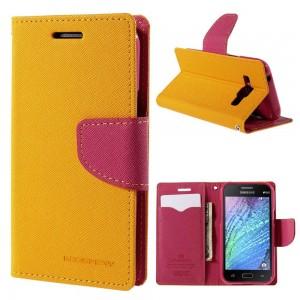 Samsung Galaxy J1 - etui na telefon i dokumenty - Fancy żółte