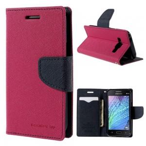 Samsung Galaxy J1 - etui na telefon i dokumenty - Fancy różowe