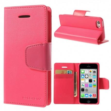 Apple iPhone 5C - etui na telefon i dokumenty - Sonata ciemnoróżowe