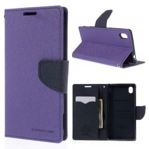 Sony Xperia M4 Aqua - etui na telefon i dokumenty - Fancy purpurowe