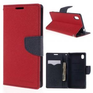 Sony Xperia M4 Aqua - etui na telefon i dokumenty - Fancy czerwone (KR)