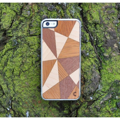 Apple iPhone 5 / 5S Etui Drewno Mosaic