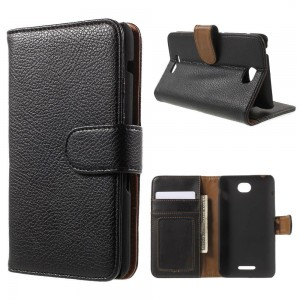Sony Xperia E4 - etui na telefon i dokumenty - Litchi czarne
